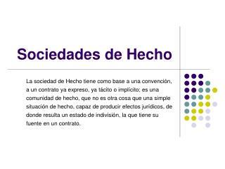 Sociedades de Hecho