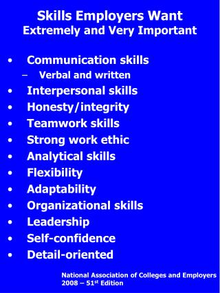 Skills Employers Want Extremely and Very Important