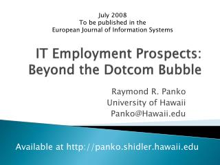 IT Employment Prospects: Beyond the Dotcom Bubble
