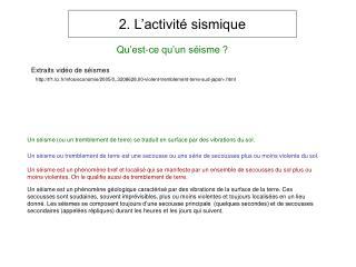 2. L activit  sismique