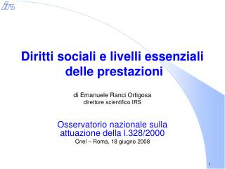 Diritti sociali e livelli essenziali  delle prestazioni