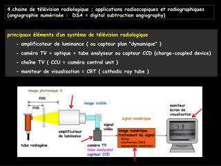 4.chaine de t l vision radiologique ; applications radioscopiques et radiographiques  angiographie num ris e :  DSA  dig