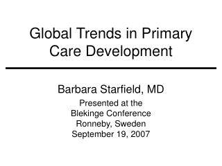 Global Trends in Primary Care Development