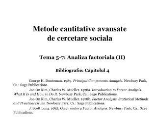 Metode cantitative avansate  de cercetare sociala
