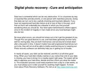 Digital photo recovery ???Cure and anticipation