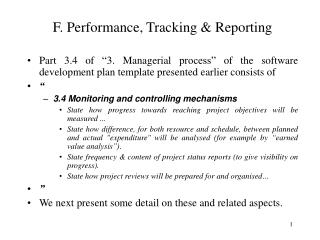 F. Performance, Tracking  Reporting