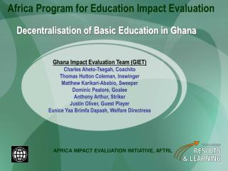 Decentralisation of Basic Education in Ghana