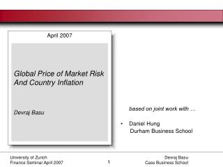 University of Zurich   Finance Seminar April 2007