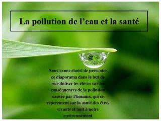 La pollution de l eau et la sant