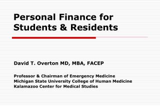 Personal Finance for  Students  Residents
