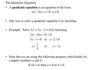 The Quadratic Equation
