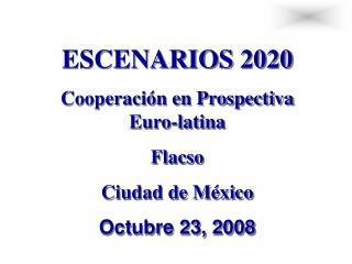 ESCENARIOS 2020 Cooperaci n en Prospectiva Euro-latina Flacso  Ciudad de M xico Octubre 23, 2008