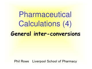 Pharmaceutical Calculations 4