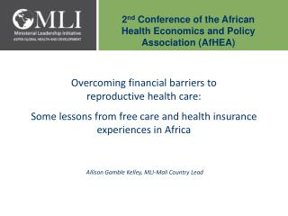 2nd Conference of the African Health Economics and Policy Association AfHEA