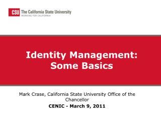 Identity Management: Some Basics