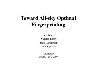 Toward All-sky Optimal Fingerprinting