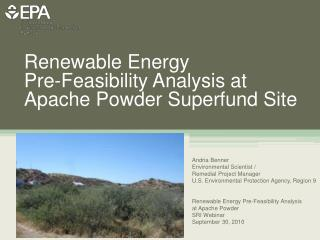 Renewable Energy  Pre-Feasibility Analysis at Apache Powder Superfund Site