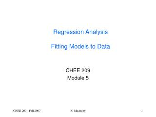 Regression Analysis  Fitting Models to Data