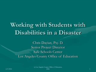 Working with Students with Disabilities in a Disaster