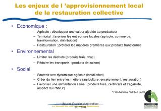 Les enjeux de l  approvisionnement local de la restauration collective