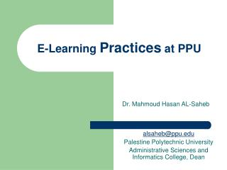 E-Learning Practices at PPU