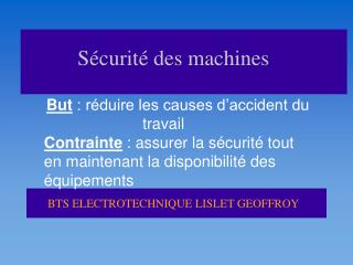 S curit  des machines