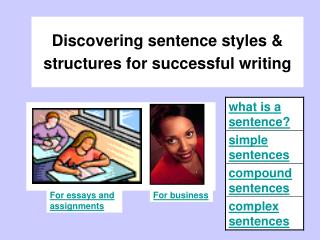 Discovering sentence styles  structures for successful writing