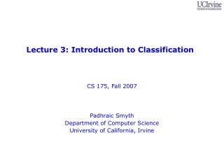 Lecture 3: Introduction to Classification