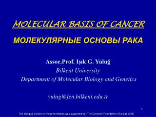 MOLECULAR BASIS OF CANCER          Assoc.Prof. Isik G. Yulug Bilkent University  Department of Molecular Biology and Gen