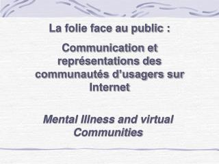 La folie face au public : Communication et repr sentations des communaut s d usagers sur Internet