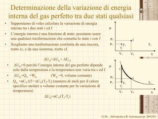 Determinazione della variazione di energia interna del gas perfetto tra due stati qualsiasi