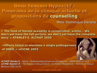 D sir F minin Hypoactif : Panorama de la clinique actuelle et propositions de counselling