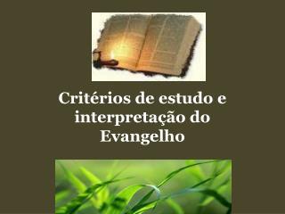 Crit rios de estudo e interpreta  o do Evangelho