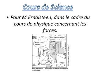 Pour M.Ernalsteen, dans le cadre du cours de physique concernant les forces.