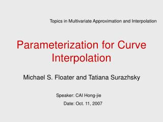 Parameterization for Curve Interpolation