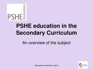 PSHE education in the Secondary Curriculum