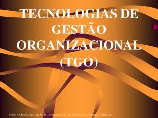 TECNOLOGIAS DE GEST O ORGANIZACIONAL TGO