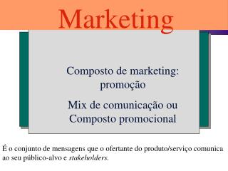 Composto de marketing: promo  o Mix de comunica  o ou Composto promocional