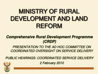 MINISTRY OF RURAL DEVELOPMENT AND LAND REFORM