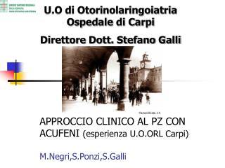 APPROCCIO CLINICO AL PZ CON ACUFENI esperienza U.O.ORL Carpi  M.Negri,S.Ponzi,S.Galli
