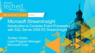 Microsoft StreamInsight Introduction to Complex Event Processing  with SQL Server 2008 R2 StreamInsight