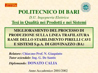 POLITECNICO DI BARI D.U. Ingegneria Elettrica Tesi in Qualit  nei Prodotti e nei Sistemi