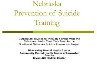 Nebraska  Prevention of Suicide Training
