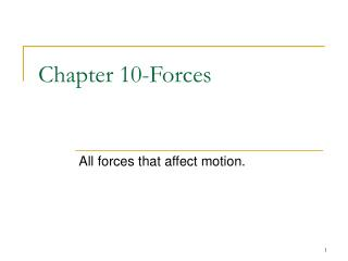 Chapter 10-Forces