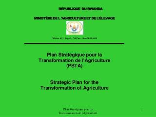 Plan Strat gique pour la Transformation de lAgriculture