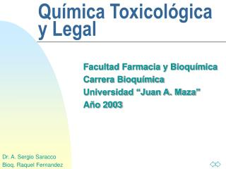 Qu mica Toxicol gica y Legal