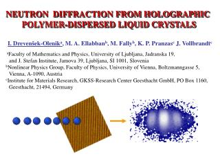 NEUTRON  DIFFRACTION FROM HOLOGRAPHIC  POLYMER-DISPERSED LIQUID CRYSTALS