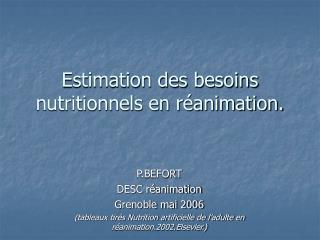 Estimation des besoins nutritionnels en r animation.