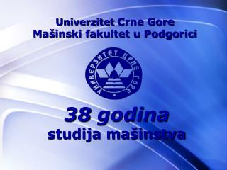 Univerzitet Crne Gore Ma inski fakultet u Podgorici
