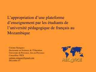 L appropriation d une plateforme d enseignement par les  tudiants de l universit  p dagogique de fran ais au Mozambique